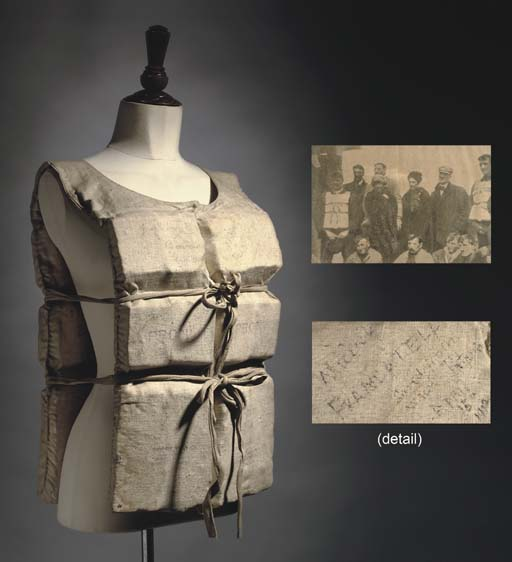 A RARE EARLY 20TH-CENTURY LIFE PRESERVER, WORN BY MABEL FRANCATELLI AS SHE ESCAPED FROM R.M.S. TITANIC AND AUTOGRAPHED BY HER AND FELLOW SURVIVORS FROM LIFEBOAT NO. 1. ON APRIL 15TH, 1912.