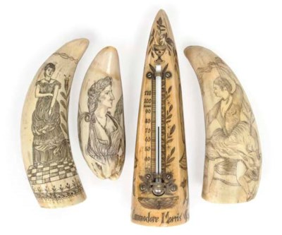 A COLLECTION OF SCRIMSHAW-DECO