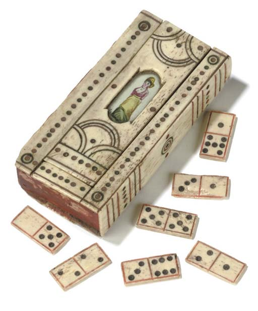 AN EARLY 19TH-CENTURY NAPOLEONIC FRENCH PRISONER-OF-WAR BONE AND WOOD GAMES BOX
