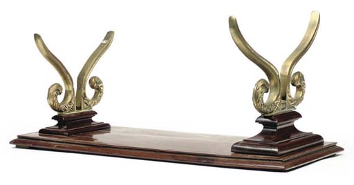 A MAHOGANY AND BRASS MODEL STAND, POSSIBLY 19TH-CENTURY