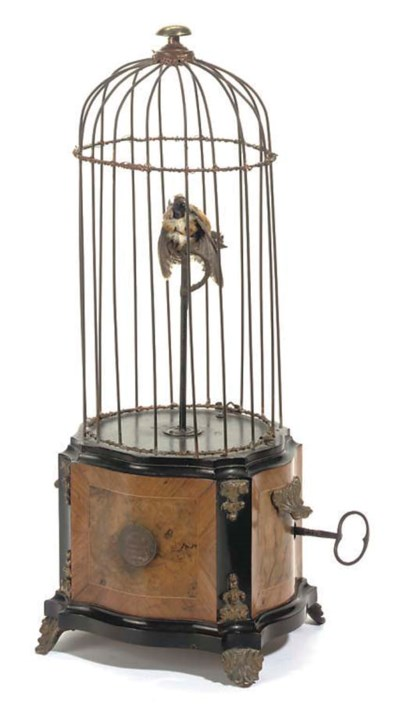 A singing bird in cage