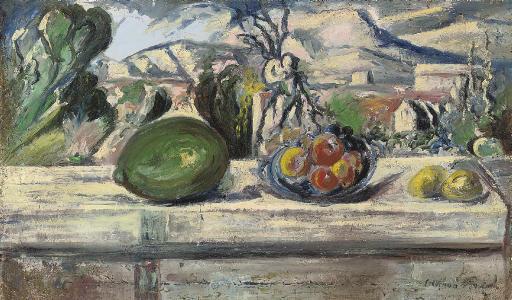 Composition aux fruits et paysage