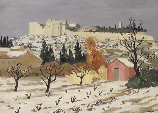 Le fort Villeneuve-les-Avignon sous la neige