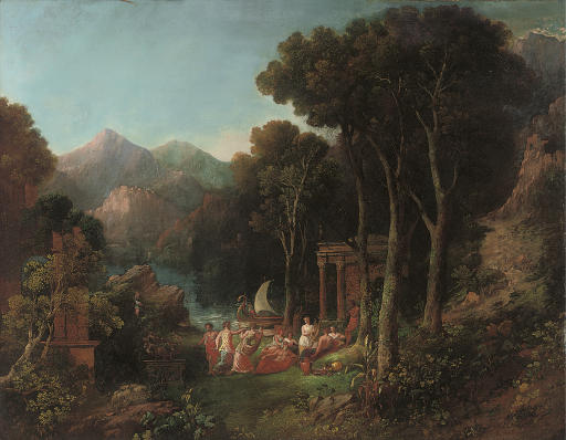 A mountainous wooded river landscape with a bacchanal