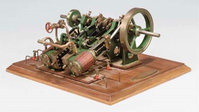 A model twin cylinder inclined