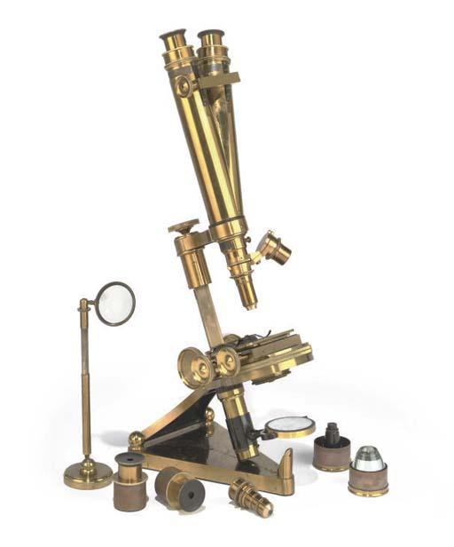 A good Victorian lacquered-brass compound binocular microscope,