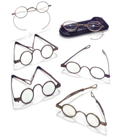 Ten assorted brass spectacles,