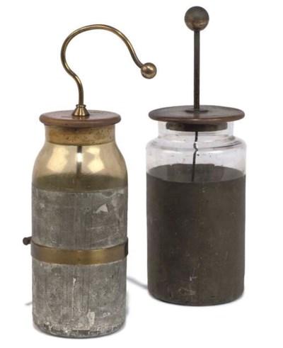 A Leyden jar,