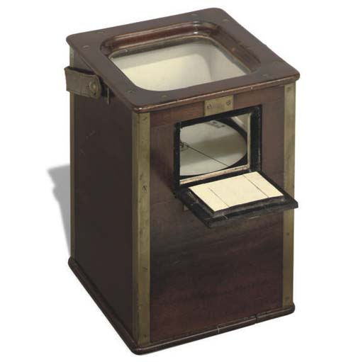 A mahogany and brass bound cased water finder,