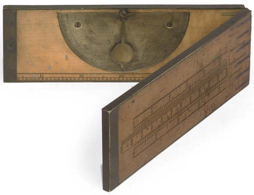 A brass-bound birch folding 12-inch clinometer rule,