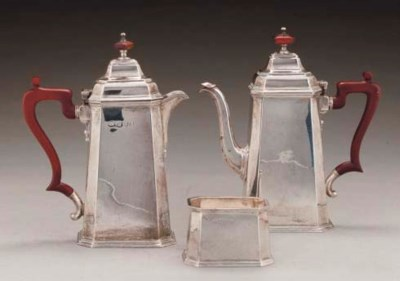 A THREE-PIECE SILVER COFFEE SE