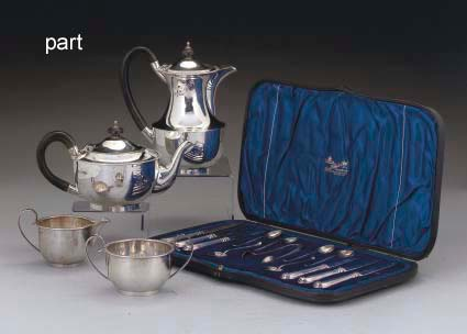 A FOUR-PIECE SILVER TEA SET