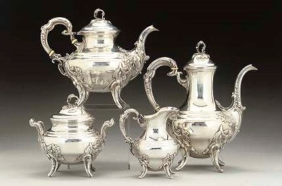 AN ITALIAN METALWARE FOUR-PIEC