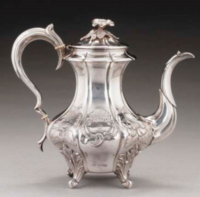 A WILLIAM IV SILVER COFFEE POT
