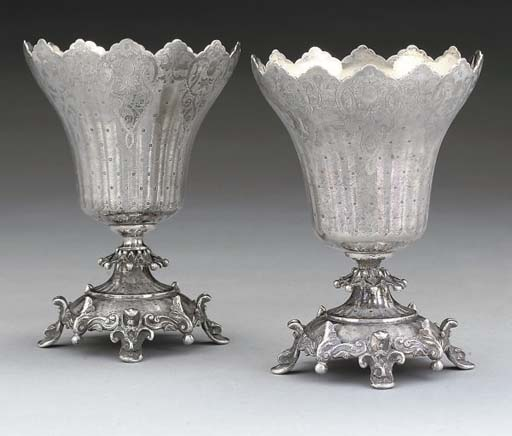 A PAIR OF 19TH CENTURY TURKISH SILVER CUPS OF TULIP FORM,