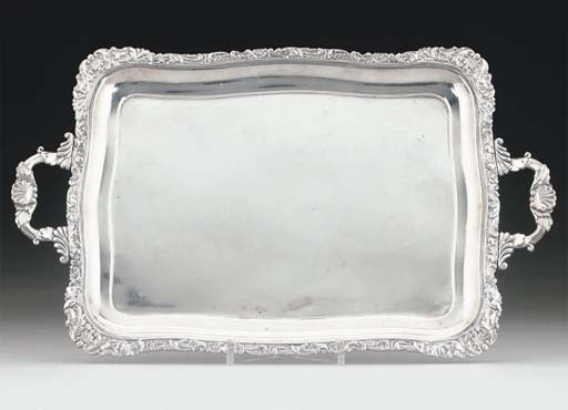 A SMALL 19TH CENTURY RUSSIAN SILVER TWO-HANDLED TRAY,