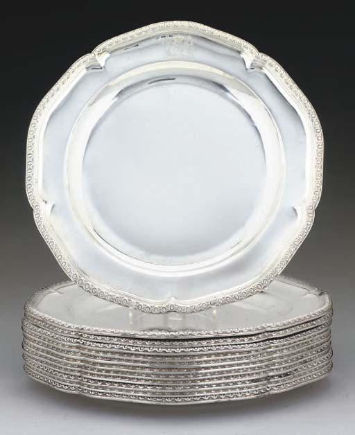 A MATCHED SET OF TWELVE GEORGE III SILVER DINNER PLATES,