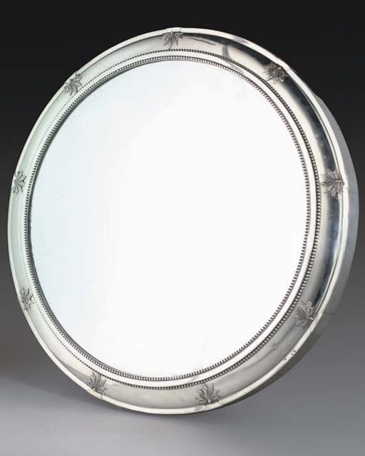 A LARGE VICTORIAN SILVER-MOUNTED MIRROR PLATEAU,