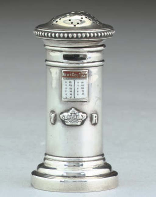 A Victorian silver and enamel novelty pepperette