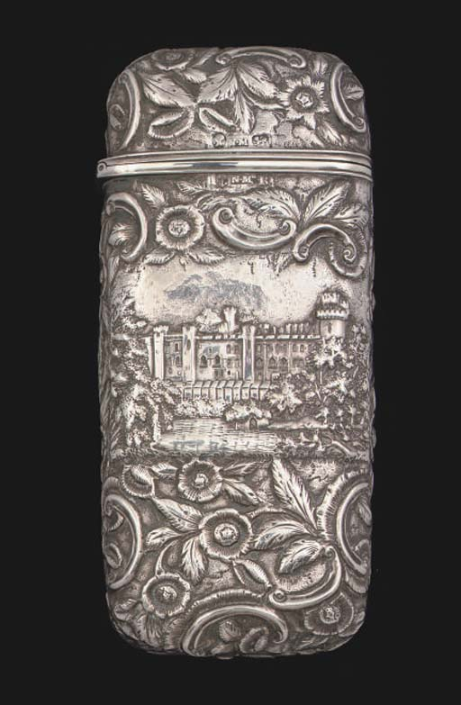 "A Victorian silver ""castle-top"" cheroot case"