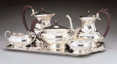 A MODERN SILVER TEA AND COFFEE