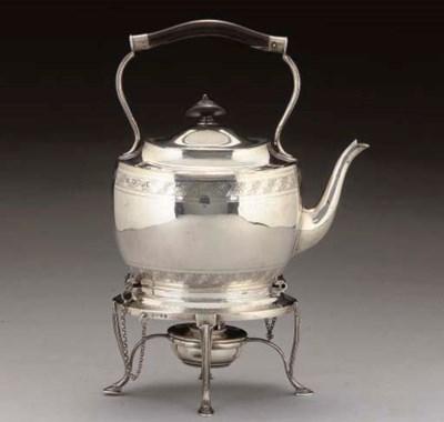 A VICTORIAN SILVER TEA KETTLE
