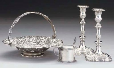 A PAIR OF GEORGE II STYLE SILV