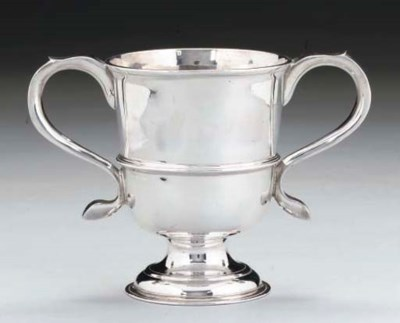 A GEORGE II TWO-HANDLED SILVER