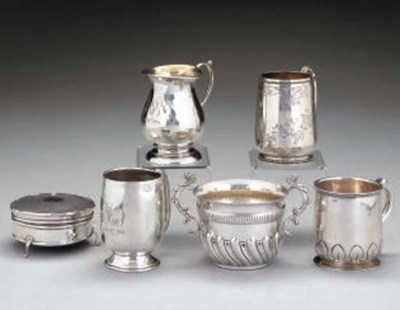 FOUR SILVER CHRISTENING MUGS A