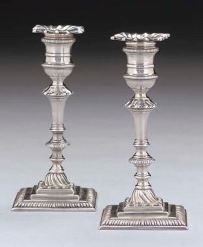 A PAIR OF GEORGE II CAST SILVE