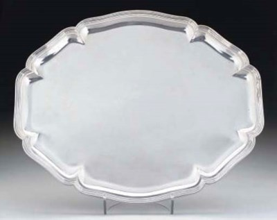 A GERMAN SILVER TRAY OF PLAIN