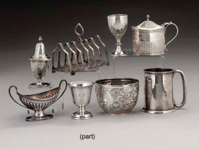 A GROUP OF SILVER AND PLATED I