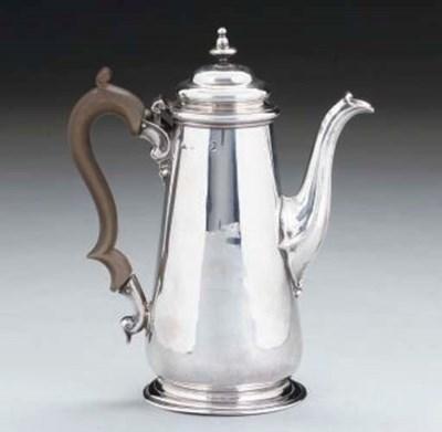 A GEORGE II SILVER COFFEE POT,