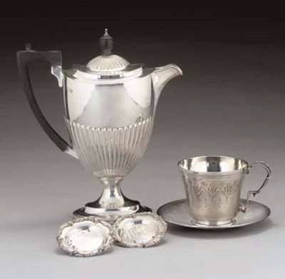 A FRENCH SILVER CUP AND SAUCER