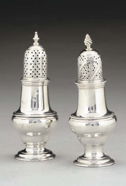TWO GEORGE III SILVER CASTERS,