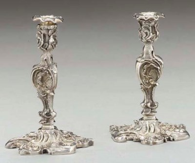 A PAIR OF VICTORIAN CAST SILVE