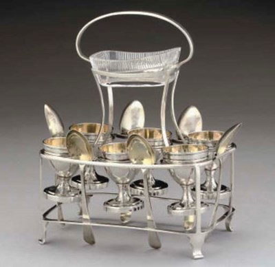 A GEORGE III SILVER 6-CUP EGG
