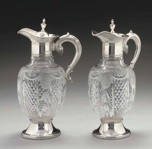 A PAIR OF MODERN SILVER-MOUNTE