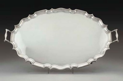 A SILVER TWO-HANDLED TRAY,