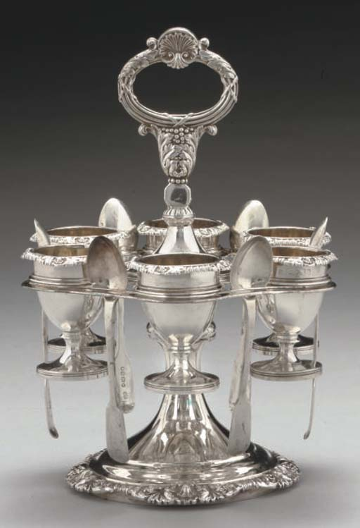 A GEORGE IV SILVER SIX-CUP EGG