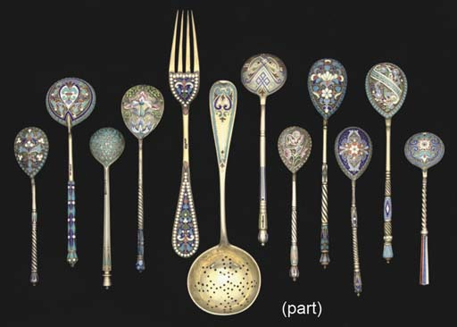 A GROUP OF 16 RUSSIAN SILVER-G