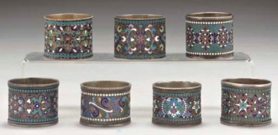 A GROUP OF SEVEN RUSSIAN SILVE