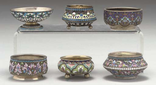 A GROUP OF SIX RUSSIAN SILVER