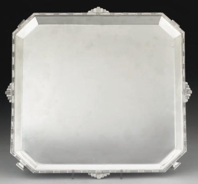 AN ART-DECO STYLE SILVER TRAY