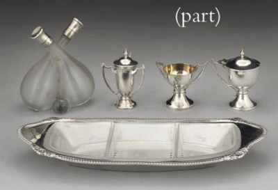 TEN EDWARDIAN SILVER CONDIMENT
