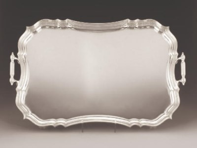 A TWO-HANDLED SILVER TEA TRAY