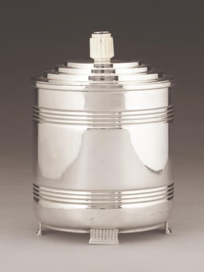 AN ART-DECO STYLE SILVER BISCU