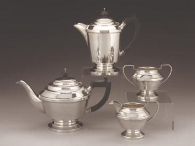 A SILVER FOUR-PIECE SILVER TEA