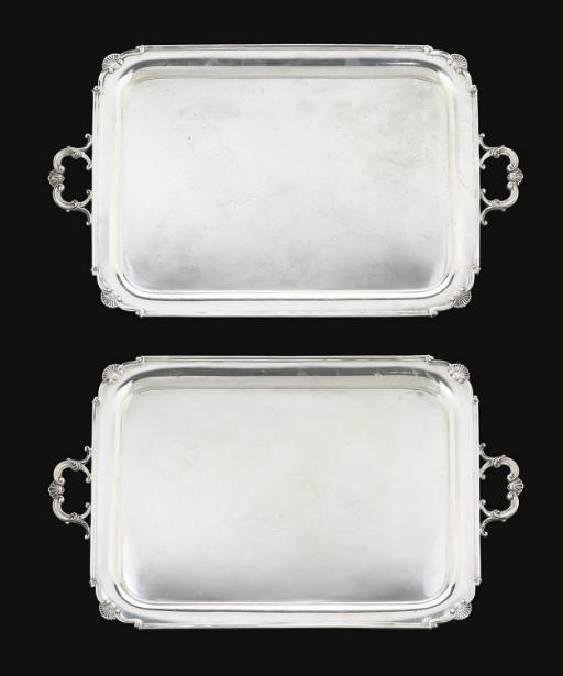 A PAIR OF SILVER TWO-HANDLED TRAYS,