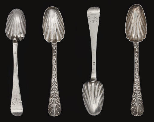 A SET OF FOUR GEORGE II CHANNEL ISLANDS SILVER TEASPOONS,